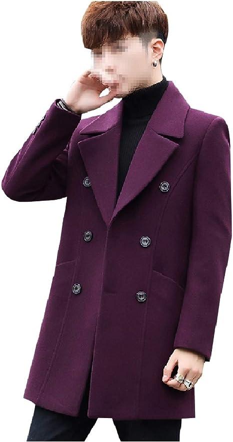 ONTBYB Men Double-Breasted Coats Pea Coat Windbreaker Wool Blend Parkas