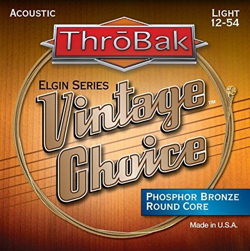 ThroBak Vintage Choice Phosphor Bronze Acoustic Guitar Strings, Round Core, Light .012-.054