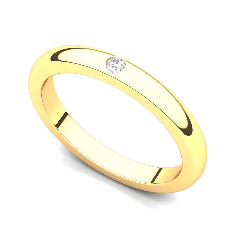 14k Yellow Gold Bezel set Diamond Wedding Band Ring G-H//SI, 0.03 ct.