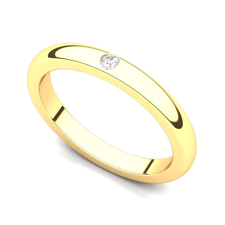14k Yellow Gold Bezel set Diamond Wedding Band Ring (G-H/SI, 0.03 ct ...