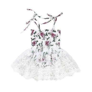 fbd6b7f6171 Amazon.com  Infant Baby Girl Dress Strap Vest Floral Print Romper Jumpsuit  Lace Dress Skirt 0-24 Months  Clothing