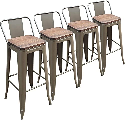 30 Inch Metal Bar Stools Farmhouse Counter Height Stools Set of 4