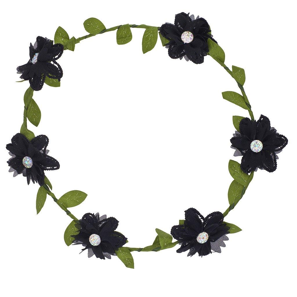 Lux Accessories Girls Black Flower Girl Bridal Flower Crown Headband
