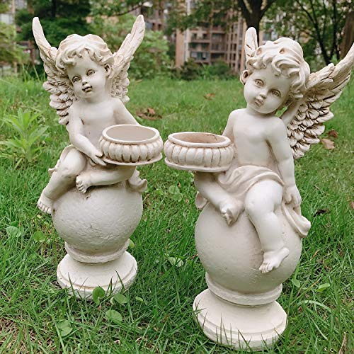 OwMell Set of 2 Cherubs Angels Statue Candle Holder, 9.5 Inch Weathered Antique Resin Angels Garden Statue Figurine for Indoor Outdoor Patio Garden Decorations