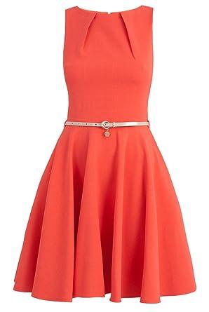 CLOSET Dress Pleat Orange Women Evening Summer Party Prom Size 8