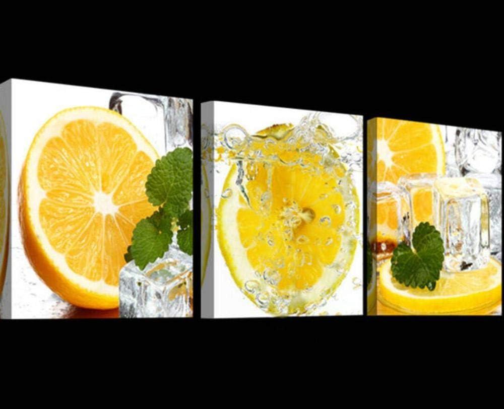 SJYYR Pequeño Fresco Imagen Cortada Naranjas Cubitos De Hielo Cuadros Lienzo De Arte 3 Piezas Pinturas Trípticas Frescas Hogar Pintura Al Óleo Decoración del Hogar Pintura Colgante-A2