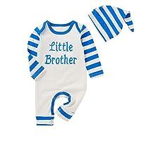 Infant Baby Boy Clothes Stripe Ckristmas Romper Fall Cotton Outfit Set Jumpsuit+Hat