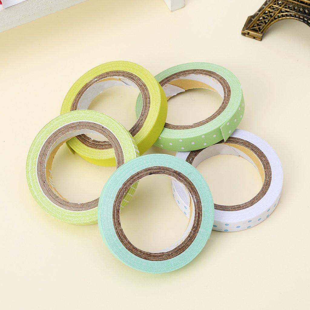 set Kawaii Dot Masking Tape Autocollant DIY Auto Adh/ésif Washi Artisanat D/écor FXCO 5pcs