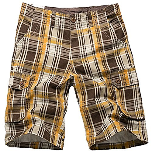 (i-Summer Mens Belted Plaid Multipocket Cargo Shorts Yellow 34)