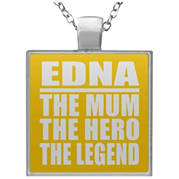 edna the mum the hero the legend square necklace athletic goldone size