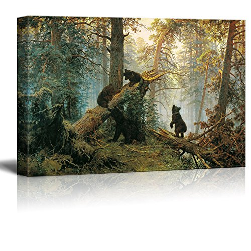 Morning in a Pine Forest (Black Bears Playing on Fallen Broken Trees) Painting Ivan Shishkin Stretched Framed