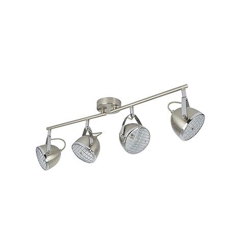 Lámpara de Techo Orientable Izga 4 Focos Plata PlataPlata ...