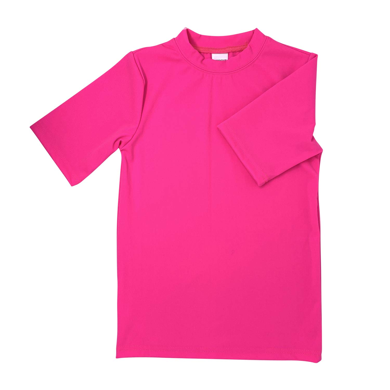 POPINJAY Boys and Rash Guard Swimming Tee SPF50+ Protection (Hot Pink, 10)