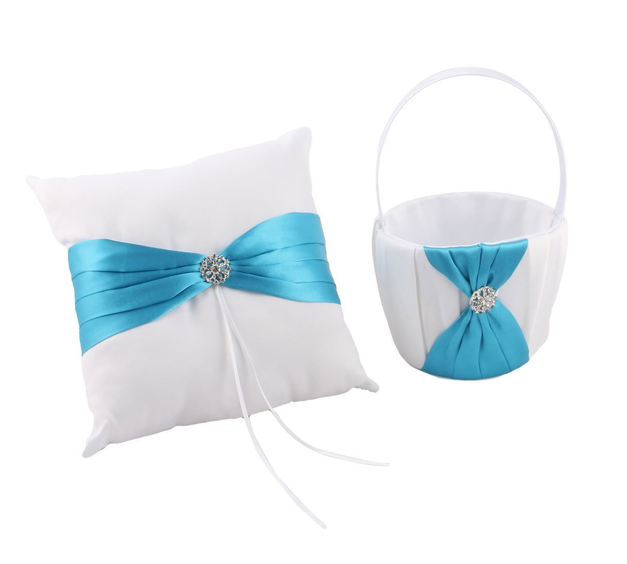Antrader Romantic Satin Butterfly Knot Decor Petals Storage Flower Container Basket Ring Pillow Set for Wedding Anniversary Celebrations Party Decoration (Blue)