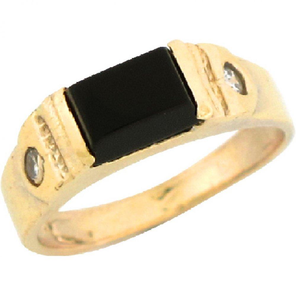 14k Real Yellow Gold 0.64ct Onyx Rectangular Boys Baby Ring