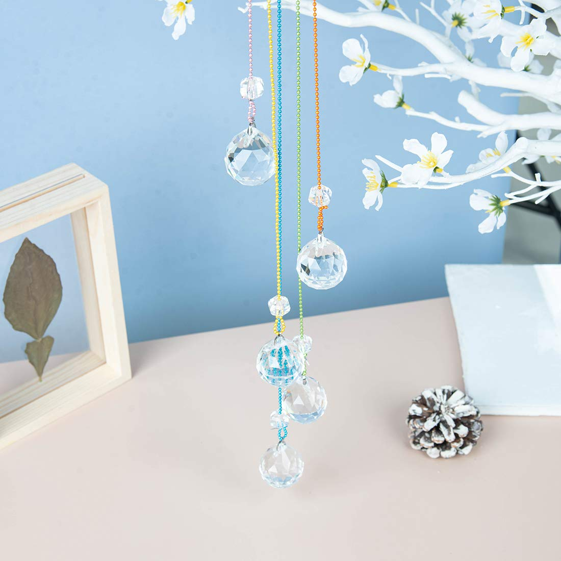 WEISIPU Hanging Crystals Suncatcher - Rainbow Crystal Ornament Crystal Ball Prism Feng Shui Crystals Suncatchers for Garden, Window Decoration