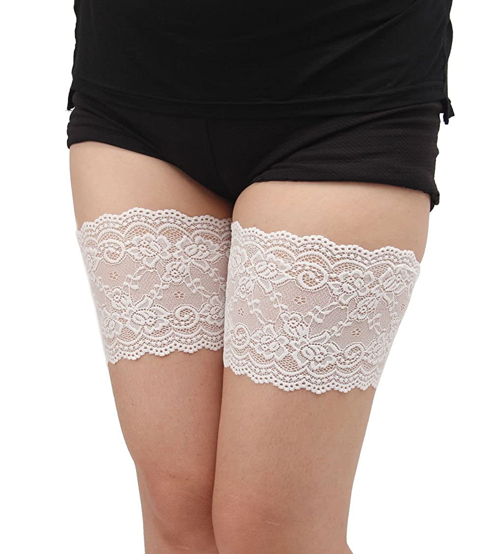 CLOUSPO 1 or 2 Pair Women Lace Thigh Bands Elastic Anti-Chafing Thigh Bands