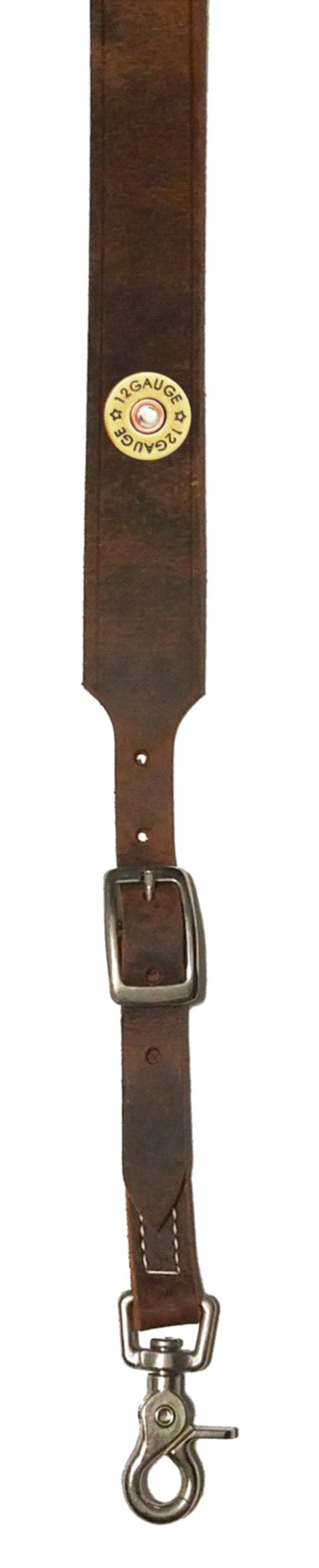 Custom 12 Gauge Shotgun Leather suspenders in Bay Apache Brown. Made in the USA