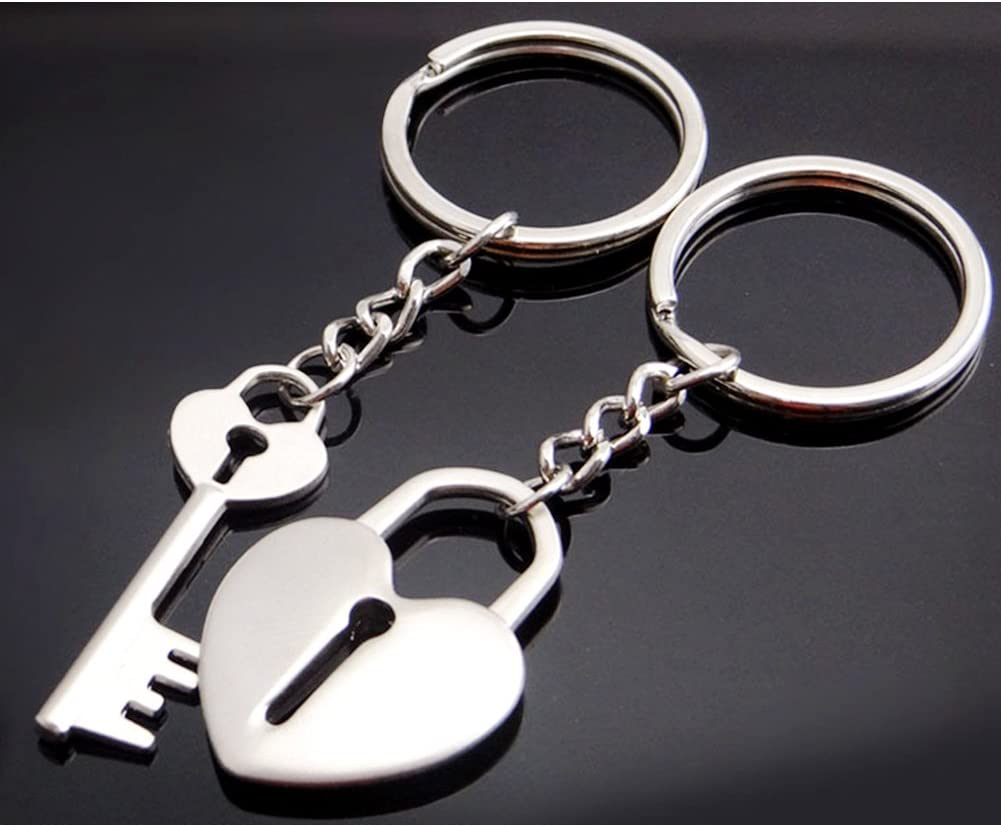 Galaxia Air Metal Heart-Shaped Key Couple Keychain with Gift Box for Men and Women