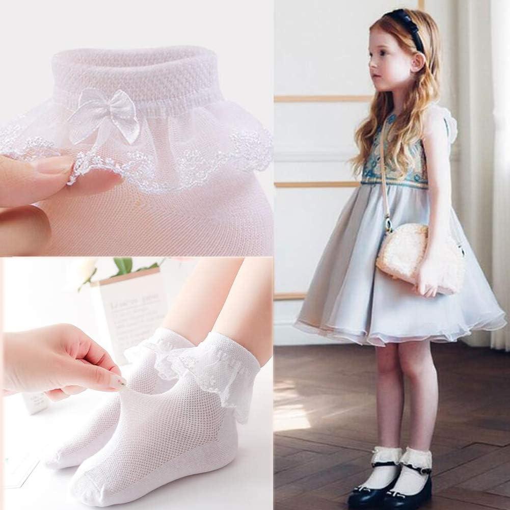 October Elf Girls Socks White Lace Top Anklet Socks Toddler Newborn Baby Socks Packs of 5