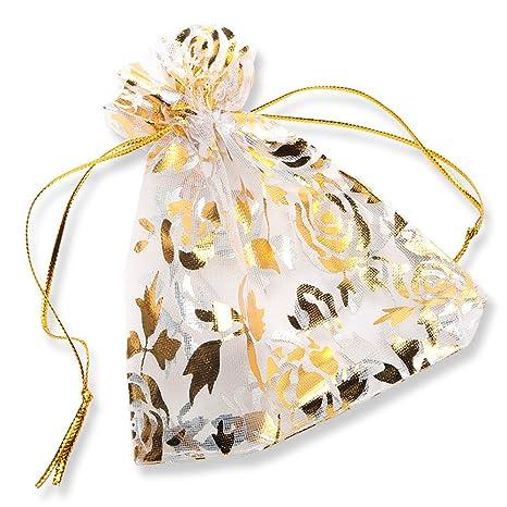 100 Piezas, Bolsas de Organza de Regalo para Boda Favores y Joyas, YFZYT Organza de Bodas Regalo de la Joyeria de Caramelo Bolsa - 13x18 CM, Blanco