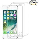 [3 Pièces] Verre Trempé pour iPhone SE 5S 5C 5, Voroar Film Protection en Verre trempé écran Protecteur Vitre- ANTI RAYURES - SANS BULLES D'AIR -Ultra Résistant Dureté 9H - Compatible 3D Touch