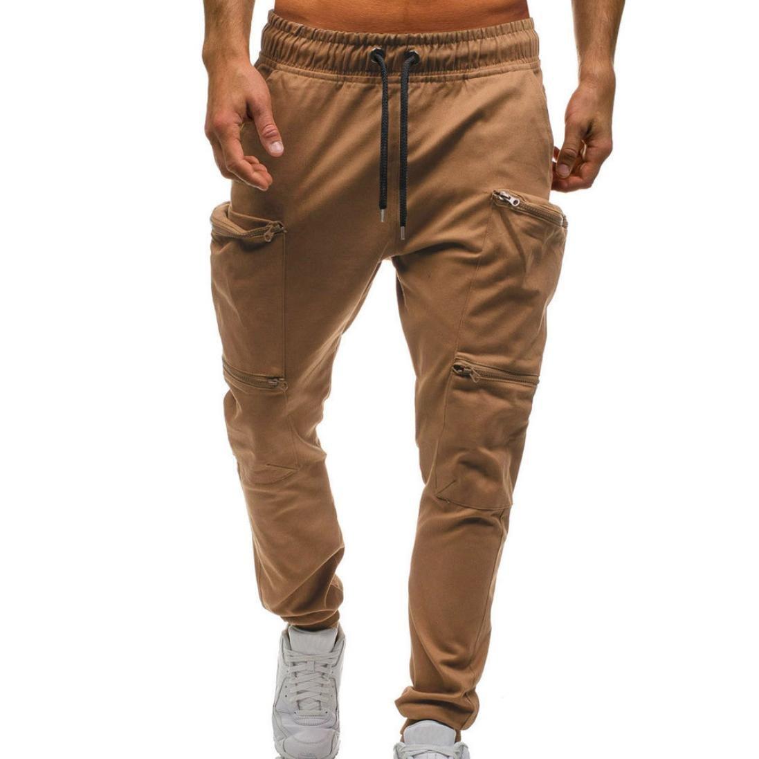 Realdo Men's Solid Casual Pants, Fashion Elastic Waist Drawstring Zipper Pockets Cargo Pants