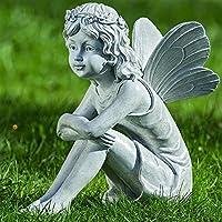 Hada Duende de Jardín Figura Decoración Hogar Resina Sintética Gris Piedra 37 cm