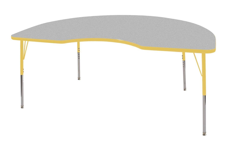 ECR4Kids 48'' x 72'' Kidney Activity School Table, Standard Legs w/Swivel Glides, Adjustable Height 19-30 inch (Grey/Yellow)