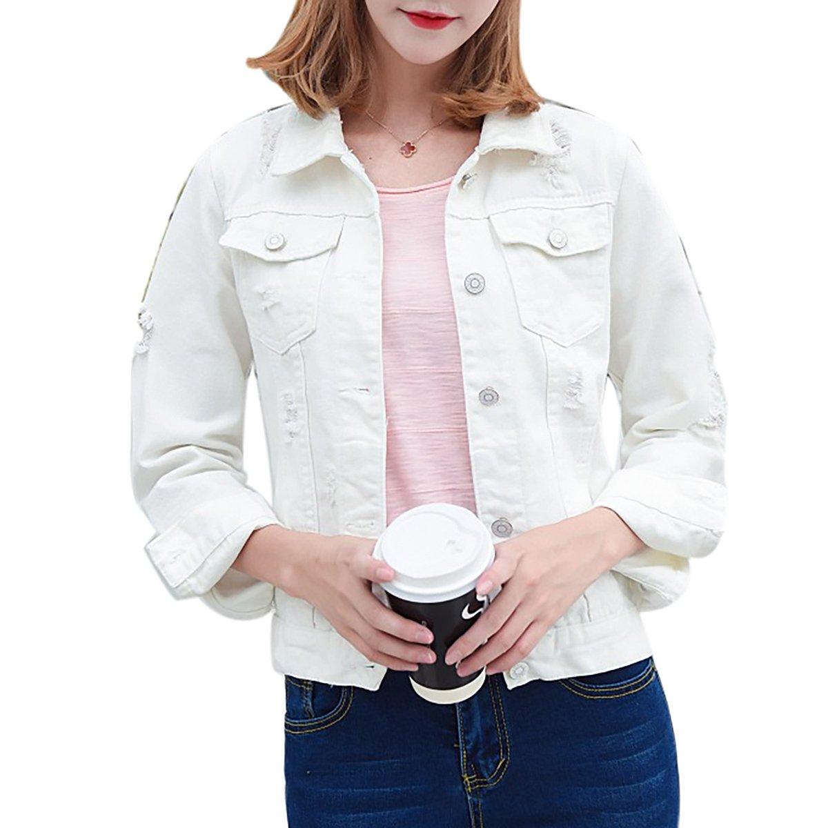 YF Women Autumn Casual Long Sleeve Short Button Down Basic Cropped Classic Denim Jacket