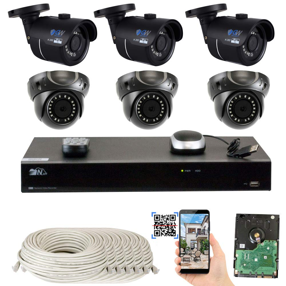 GW 8 Channel H.265 4K NVR 8-Megapixel Security Camera System, 3 Bullet and 3 Dome 8MP PoE Outdoor Indoor Waterproof UltraHD 4K IP Cameras, 2TB Hard Drive