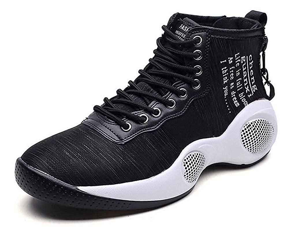 Black White 7 D(M) US KEREE Men's Sports shoes High Cut Casual Breathable Fashion Sneaker