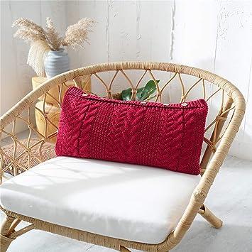 Amazon.com: Almohada lumbar de lana larga decorativa ...