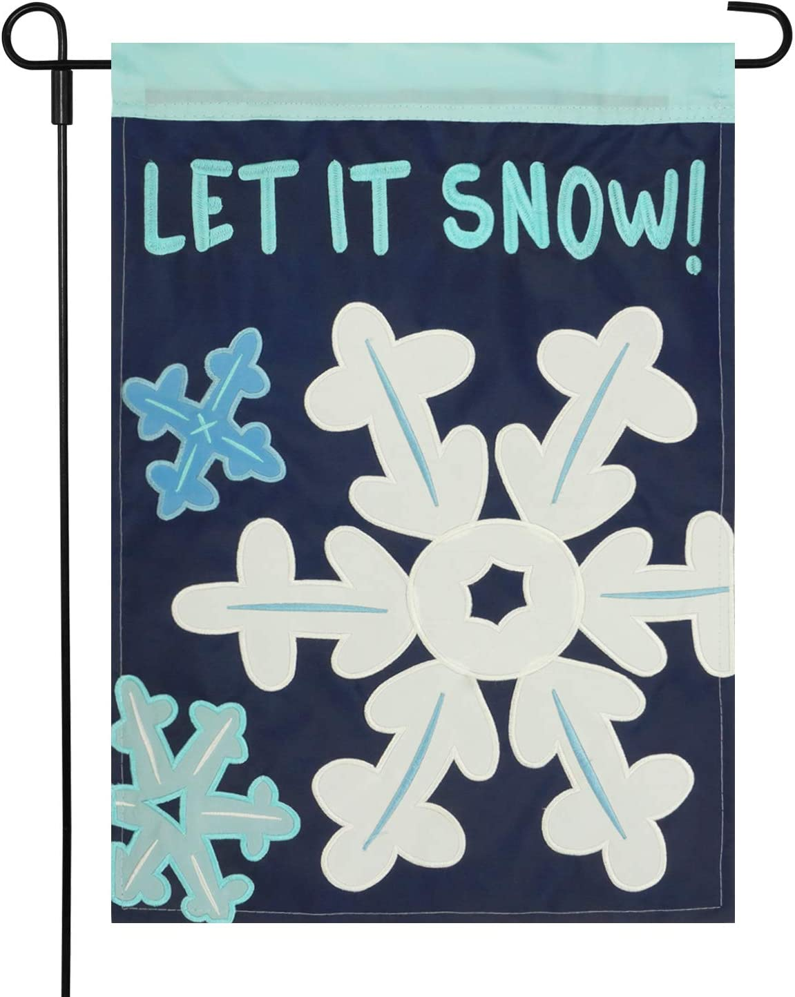 Amazon Com Layoer Home Garden Flag 12 X 18 Inch Winter Snowflake Applique Embroidered Double Sided Let It Snow Garden Outdoor