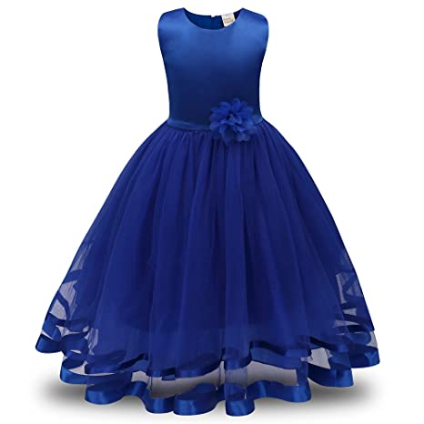 Lonshell – Vestido de fiesta estilo princesa para niña (Azul, 7T)