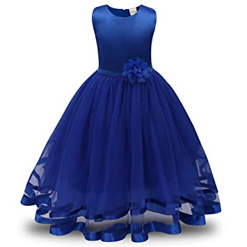 Lonshell - Vestido de fiesta estilo princesa para niña (Azul, 3T): Amazon.es: Hogar