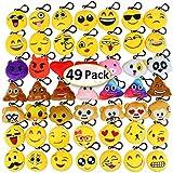 Dreampark Emoji Keychain Mini Cute Plush Pillows, Key chain Decorations, Kids Party Supplies Favors (49 Pack)