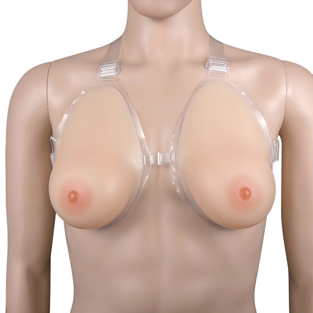 Men Women Silicone Breast Forms with Chest Button Enhancer Fake Boobs Bra,3XL