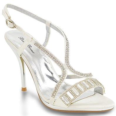 ESSEX GLAM Womens Stiletto Platform Heel Ivory Satin Party Strappy Sandals 5 B(M)