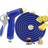 Seamless telescopic plumbing Household car wash water gun Adjustable water flower High pressure water gun Pure version Hose Non-slip handle car wash / Watering flowers Zinc alloy blue , 3000cm