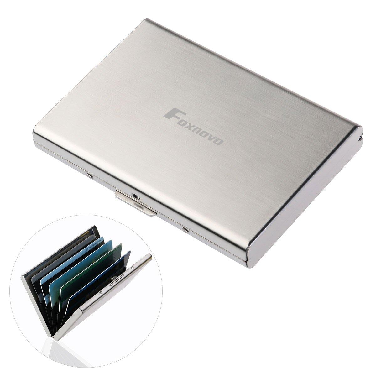 Custodia per carte di credito FOXNOVO, RFID custodia per carte di credito ultra sottile, protezione RFID per portamonete, 6 scomparti in acciaio inox