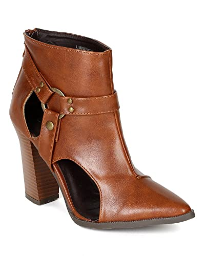 BE80 Women Leatherette Pointy Toe Cut Out Harness Triangular Heel Ankle Bootie