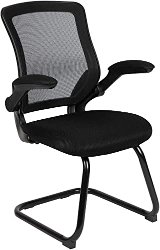 Flash Furniture Black Mesh Sled Base Side Reception Chair