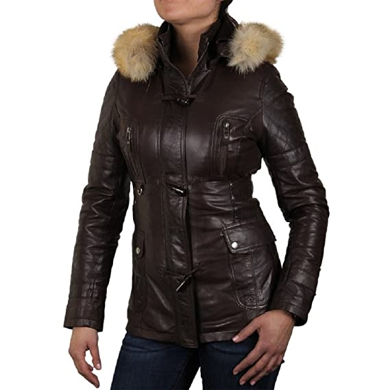 88e47b40c87b Brandslock Womens Genuine Leather Biker Jacket Detachable Hooded: Amazon.co. uk: Clothing