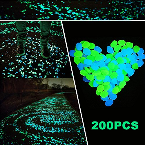 200pcs Glow in the Dark Pebbles - SurLight Glow Pebbles Stones for Halloween Decorations Outdoor Walkways Steps, Glow Stones for Halloween Christmas Garden Path Patio Lawn Yard Decor, Blue & Green