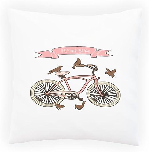 Amo Mi Bicicleta De La Bici Almohada decorativa, Funda de cojín ...