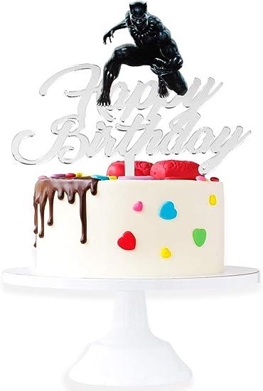 Black Panther Cake Topper Black Panther Birthday Cake Topper Black Panther Party Superhero Cake Topper Amazon De Kuche Haushalt
