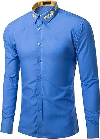 Hombre Camisa con Bordado en Cuello Solapa Camisas de Traje Oficina Shirt Slim Fit Top: Amazon.es: Ropa y accesorios