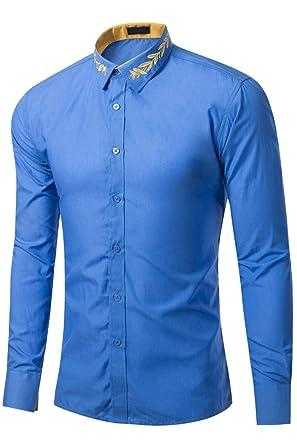 Hombre Camisa con Bordado en Cuello Solapa Camisas de Traje ...