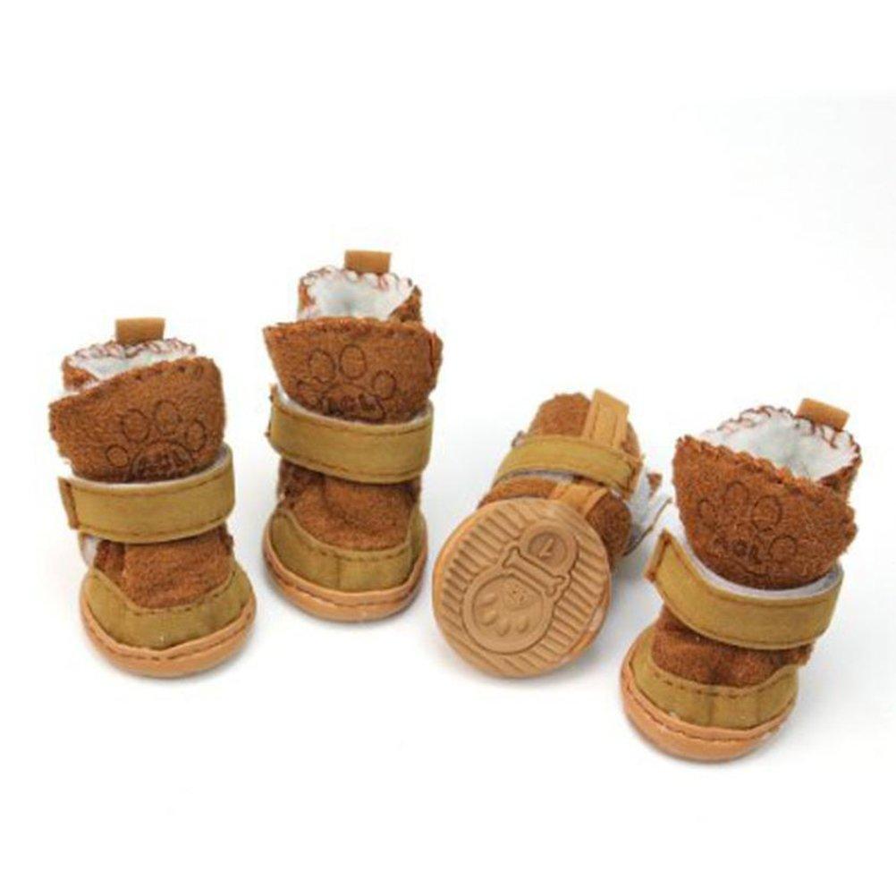 Ueetek 4 chaussons d' hiver antidé rapants avec bande ré flé chissante pour chien Café